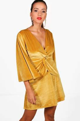 boohoo Angel Sleeve Twist Front Velvet Shift Dress