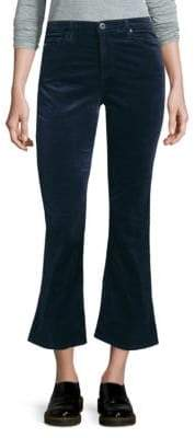 AG Adriano Goldschmied Jodi High-Rise Cropped Flare Velvet Pants
