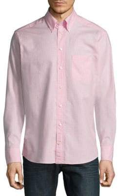 Eton Gingham Long Sleeve Casual Button-Down Shirt