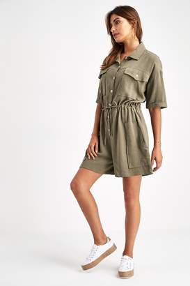 Next Womens Khaki Utility Shirt Playsuit - Green