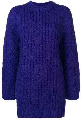 R 13 longline cable-knit jumper