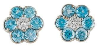 14K Topaz & Diamond Flower Stud Earrings