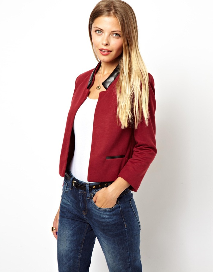Asos Crop Blazer with Leather Look Collar