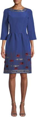 Oscar de la Renta 3/4-Sleeve Bullion-Stitched Dress