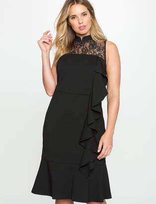 ELOQUII Tie Back Trumpet Dress with Cascading Ruffle