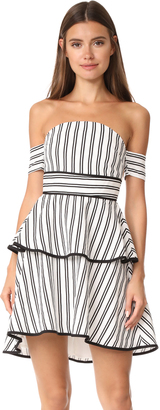 endless rose Striped Off The Shoulder Bustier High Low Dress $115 thestylecure.com