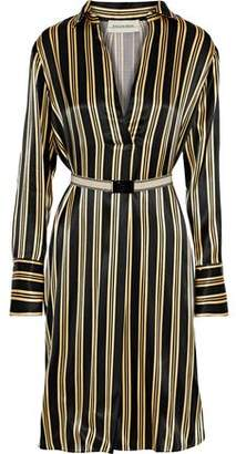 By Malene Birger Belted Striped Satin Dress