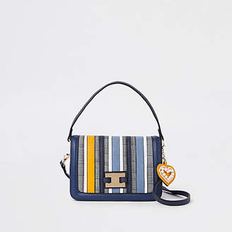 River Island Womens Blue stripe flap over crossbody bag