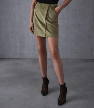Reiss Francis Corduroy Warp Front Mini Skirt