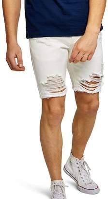 Topman Ripped Slim Fit Denim Shorts
