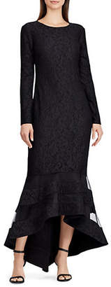 Lauren Ralph Lauren Tulle-Panel Lace Gown