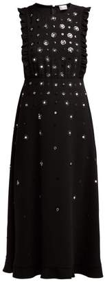 RED Valentino Sequin And Crystal Flower Crepe Dress - Womens - Black