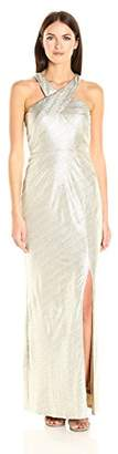 Laundry by Shelli Segal Women's Cross Front Metallic Foil Gown