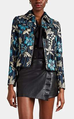 Prada Women's Metallic Floral Cloqué Jacket - Blue