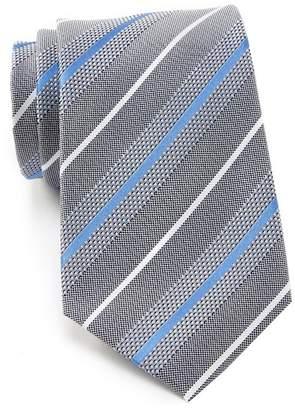 Kenneth Cole Reaction Modern Texture Stripe Pattern Silk Tie