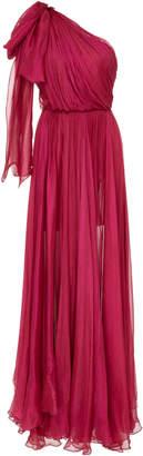Maria Lucia Hohan Altheda Metallic Silk-Mousseline One Shoulder Dress