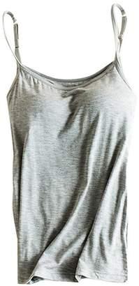 24eddbc5c9088 THUNDERSTAR Womens Modal Built-in Bra Padded Camisole Yoga Tanks Tops SP  Gray L