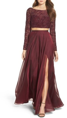 Women's La Femme Embellished Lace Two-Piece Gown $458 thestylecure.com