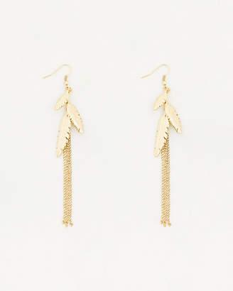 Le Château Metal Leaves & Fringe Earrings