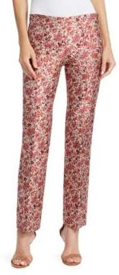 Giambattista Valli Women's Floral Jacquard Slim Straight Pants - Rose - Size 42 (6)