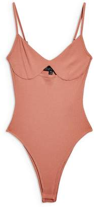 Topshop Cutout Ribbed Bodysuit