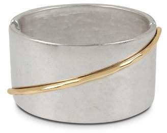 Robert Lee Morris Soho Two-Tone Sculptural Wide Hinged Bangle Bracelet 9f4d10d0f1a76