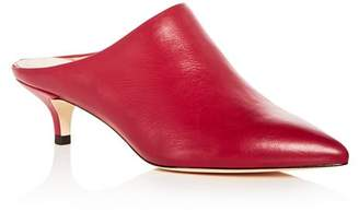 Pour La Victoire Women's Korrine Leather Kitten Heel Pointed Toe Mules