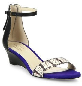 Cole Haan Adderly Snake-Print Leather Ankle-Strap Wedge Sandals $160 thestylecure.com