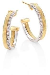 "Marco Bicego Masai Two-Row Diamond, 18K Yellow& White Gold Hoop Earrings/0.8"""