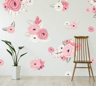 Pottery Barn Pink & White Graphic Flowers Wall Decal