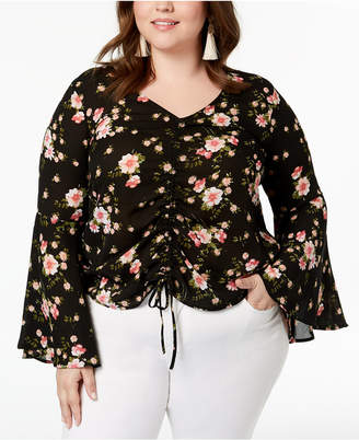 Planet Gold Trendy Plus Size Printed Ruched Top