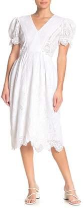 Love Sam Bella Embroidered Puff Sleeve Dress