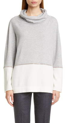 Fabiana Filippi Bicolor Chain Trim Wool, Silk and Cashmere Sweater