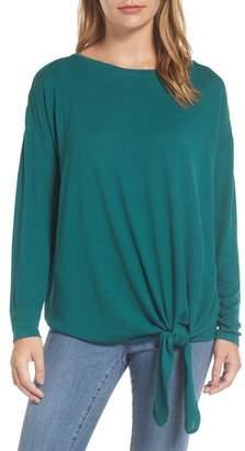 Caslon Tie Front Sweatshirt (Regular & Petite)