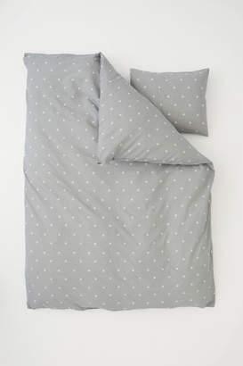 H&M Star-print Duvet Cover Set - Gray