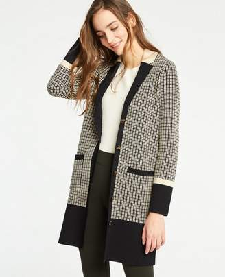 Ann Taylor Petite Colorblock Plaid Coatigan