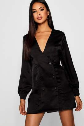 boohoo Tall Double Breasted Wrap Satin Blazer Dress
