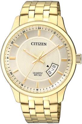 Citizen BI1052-85P Stainless Steel Quartz Date Watch in Gold