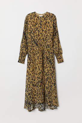 H&M Leopard-print Silk Dress - Yellow