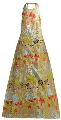 Rochas Halterneck Floral Brocade Gown - Womens - Green Multi