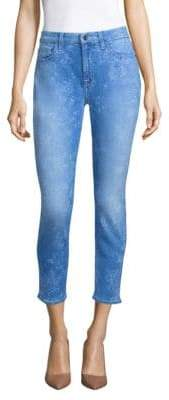 JEN7 by 7 For All Mankind Laser Floral-Print Skinny Ankle Jeans