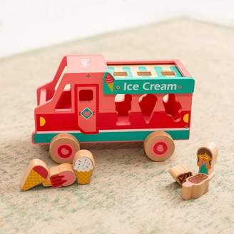 Harmony at Home Children's Eco Boutique Personalised Wooden Ice Cream Van Shape Sorter