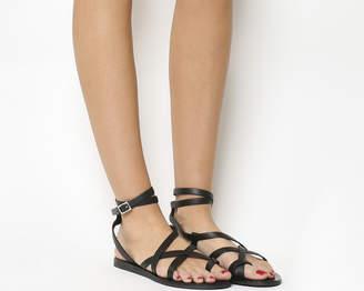 Office Salvador Toe Loop Gladiator Sandals Black Leather Black Sole