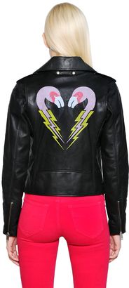 Flamingo Print Smooth Leather Jacket $798 thestylecure.com