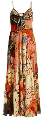 Camilla Floral Print Silk Crepe De Chine Dress - Womens - Orange Multi