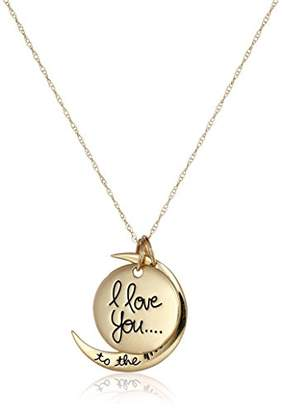 "14k Yellow ""I Love You to the Moon and Back"" Two-Piece Pendant Necklace"