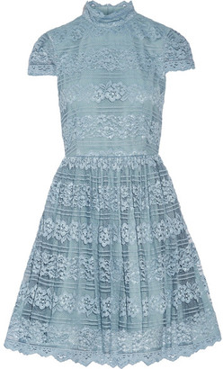 Alice + Olivia Alice Olivia - Maureen Lace Mini Dress - Light blue $525 thestylecure.com