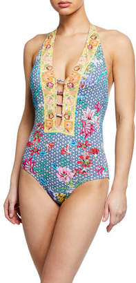 Johnny Was Seaton Floral Halter One-Piece Swimsuit