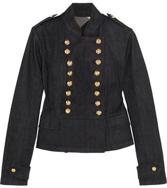 Burberry - Double-breasted Denim Jacket - Dark denim $795 thestylecure.com