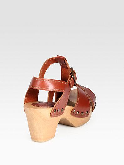 A.P.C. Leather Wooden Platform Sandals